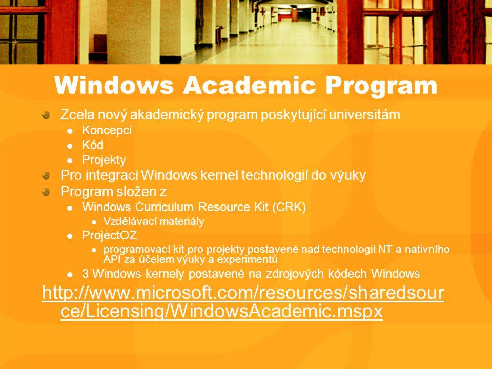 Windows Academic Program Zcela nový akademický program poskytující universitám Koncepci Kód Projekty Pro integraci Windows kernel technologií do výuky Program složen z Windows Curriculum Resource Kit (CRK) Vzdělávací materiály ProjectOZ programovací kit pro projekty postavené nad technologií NT a nativního API za účelem výuky a experimentů 3 Windows kernely postavené na zdrojových kódech Windows http://www.microsoft.com/resources/sharedsour ce/Licensing/WindowsAcademic.mspx