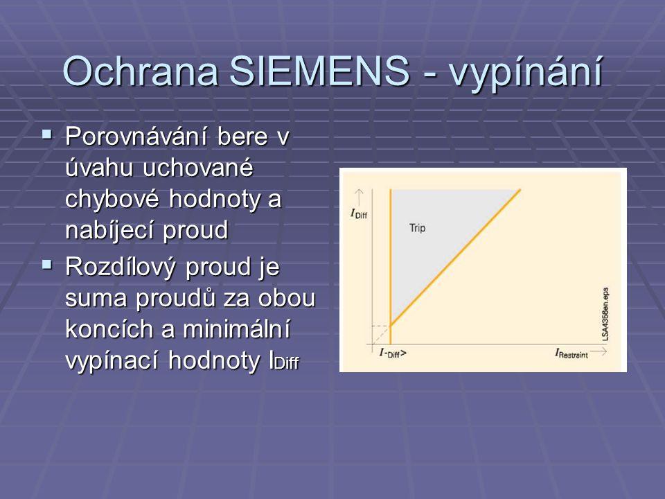 Ochrana SIEMENS - vypínání  Porovnávání bere v úvahu uchované chybové hodnoty a nabíjecí proud  Rozdílový proud je suma proudů za obou koncích a minimální vypínací hodnoty I Diff