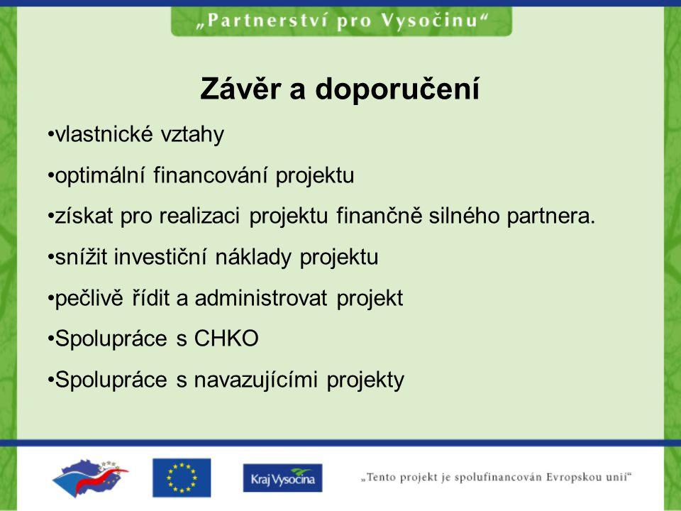 Závěr a doporučení vlastnické vztahy optimální financování projektu získat pro realizaci projektu finančně silného partnera.