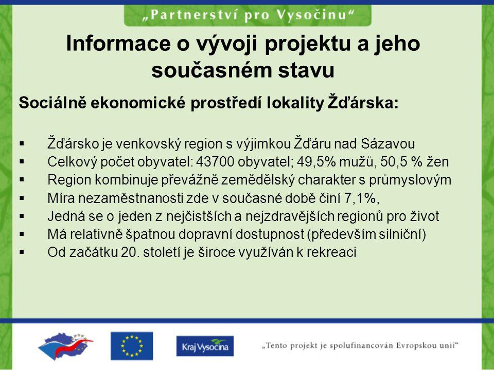 Informace o vývoji projektu a jeho současném stavu Sociálně ekonomické prostředí lokality Žďárska:  Žďársko je venkovský region s výjimkou Žďáru nad Sázavou  Celkový počet obyvatel: 43700 obyvatel; 49,5% mužů, 50,5 % žen  Region kombinuje převážně zemědělský charakter s průmyslovým  Míra nezaměstnanosti zde v současné době činí 7,1%,  Jedná se o jeden z nejčistších a nejzdravějších regionů pro život  Má relativně špatnou dopravní dostupnost (především silniční)  Od začátku 20.