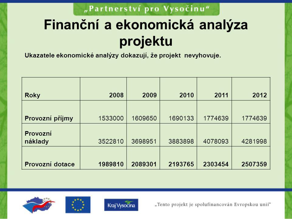 Finanční a ekonomická analýza projektu Ukazatele ekonomické analýzy dokazují, že projekt nevyhovuje.