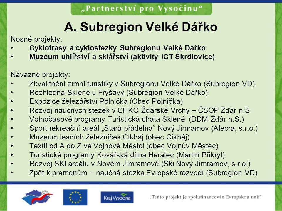 A. Subregion Velké Dářko Nosné projekty: Cyklotrasy a cyklostezky Subregionu Velké Dářko Muzeum uhlířství a sklářství (aktivity ICT Škrdlovice) Návazn