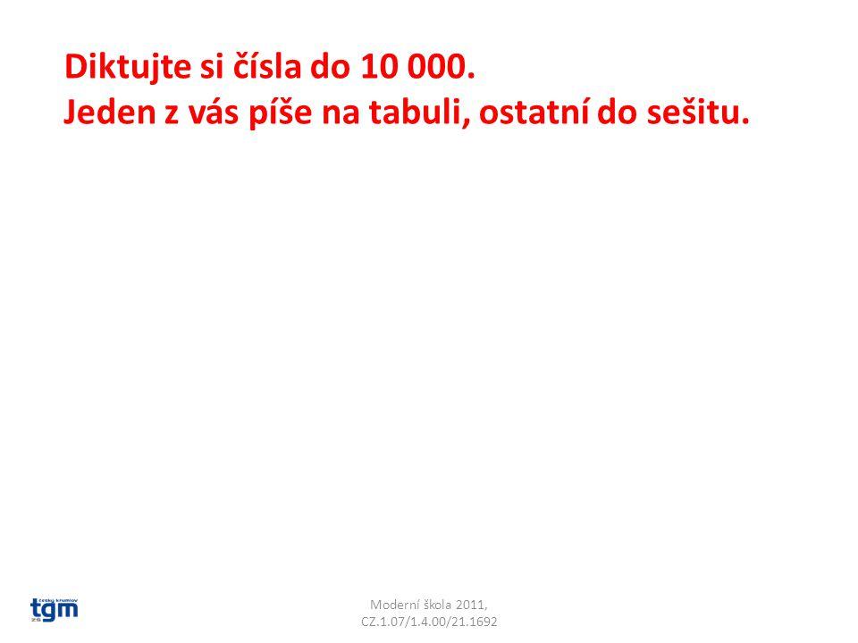Moderní škola 2011, CZ.1.07/1.4.00/21.1692 Diktujte si čísla do 10 000.