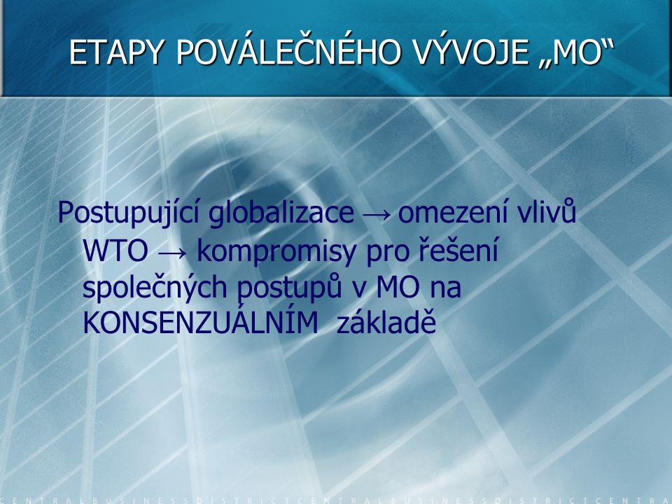 """ETAPY POVÁLEČNÉHO VÝVOJE """"MO"""" Postupující globalizace → omezení vlivů WTO → kompromisy pro řešení společných postupů v MO na KONSENZUÁLNÍM základě"""