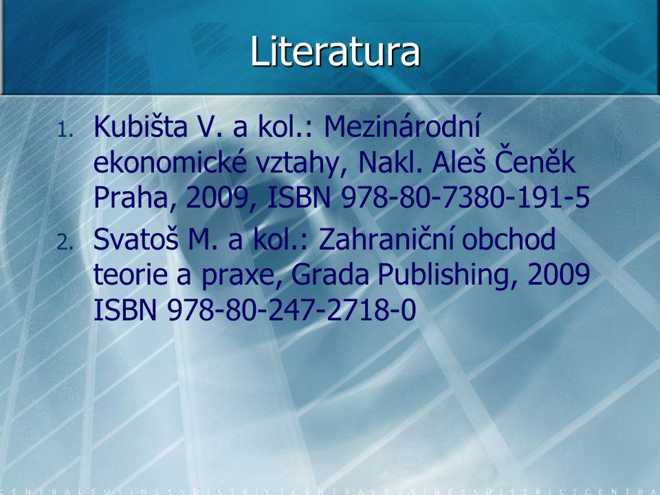 Literatura 1. 1. Kubišta V. a kol.: Mezinárodní ekonomické vztahy, Nakl. Aleš Čeněk Praha, 2009, ISBN 978-80-7380-191-5 2. 2. Svatoš M. a kol.: Zahran