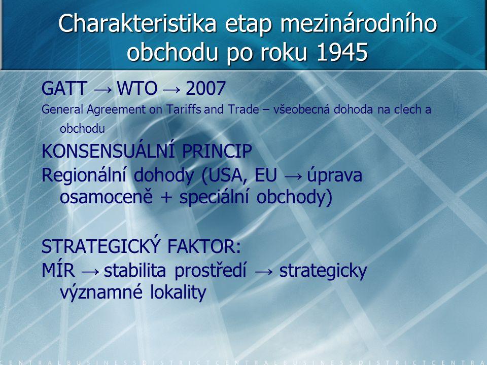 Charakteristika etap mezinárodního obchodu po roku 1945 GATT → WTO → 2007 General Agreement on Tariffs and Trade – všeobecná dohoda na clech a obchodu