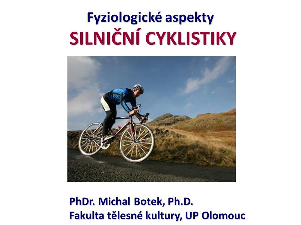 SPECIFICKÉ ADAPTACE o Dráhová cyklistika – sprinty o ↑ glykogenu, ATP, CP, hypertrofie vláken II.A a II.B, o ↑ anaerobní kapacity, fc.
