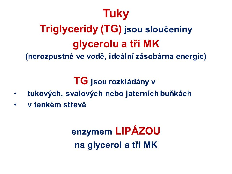 Tuky Triglyceridy (TG) jsou sloučeniny glycerolu a tři MK (nerozpustné ve vodě, ideální zásobárna energie) TG jsou rozkládány v tukových, svalových ne