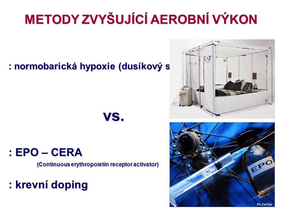 METODY ZVYŠUJÍCÍ AEROBNÍ VÝKON : normobarická hypoxie (dusíkový stan) vs. vs. : EPO – CERA (Continuous erythropoietin receptor activator) : krevní dop