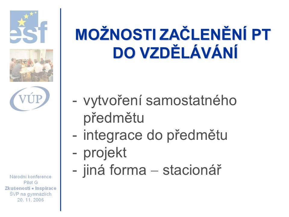 MOŽNOSTI ZAČLENĚNÍ PT DO VZDĚLÁVÁNÍ -vytvoření samostatného předmětu -integrace do předmětu -projekt -jiná forma  stacionář