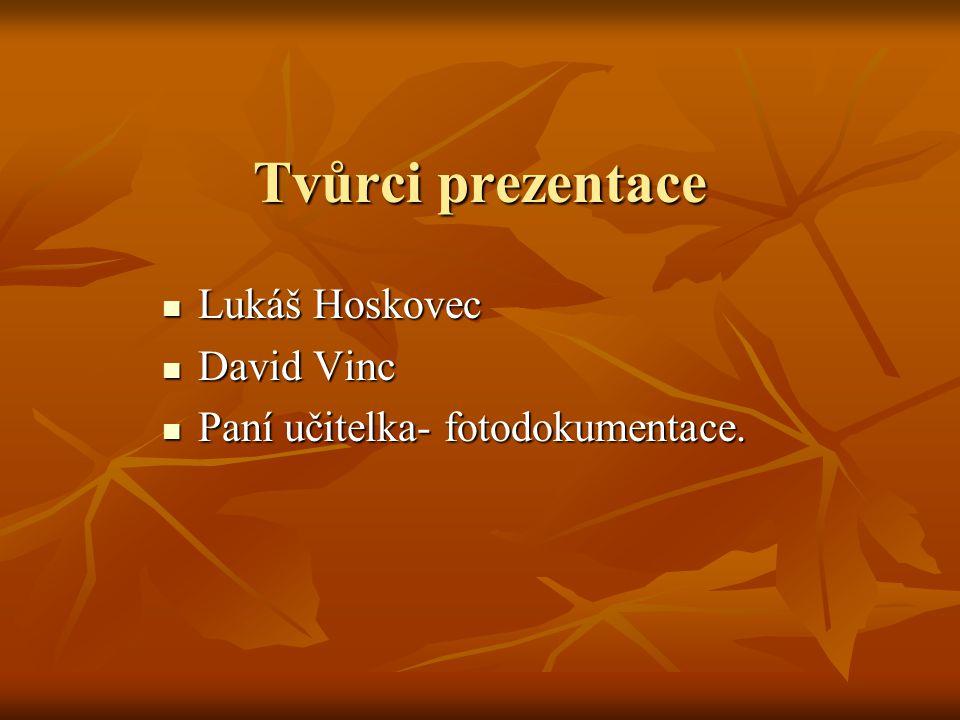 Tvůrci prezentace Lukáš Hoskovec Lukáš Hoskovec David Vinc David Vinc Paní učitelka- fotodokumentace.