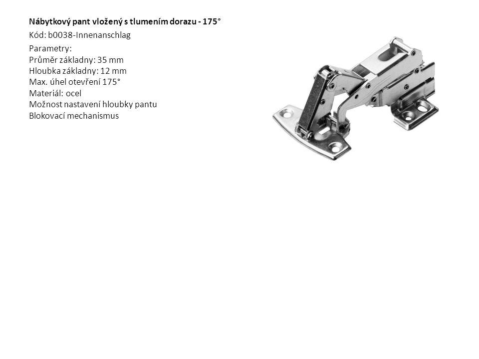 Nábytkový pant vložený s tlumením dorazu - 175° Kód: b0038-Innenanschlag Parametry: Průměr základny: 35 mm Hloubka základny: 12 mm Max. úhel otevření