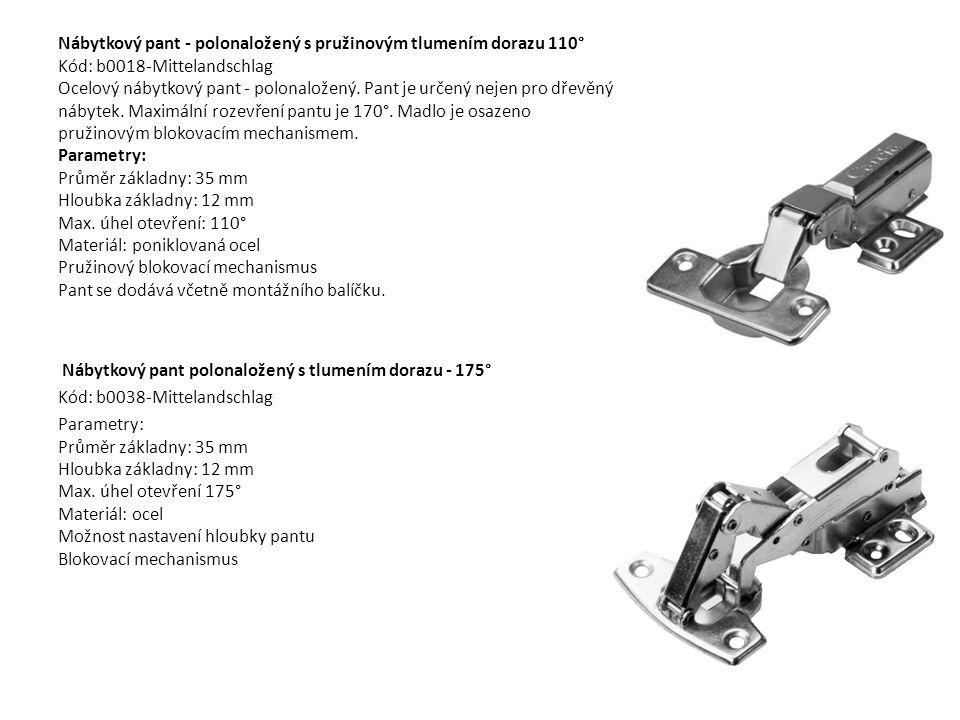 Nábytkový pant - polonaložený s pružinovým tlumením dorazu 110° Kód: b0018-Mittelandschlag Ocelový nábytkový pant - polonaložený. Pant je určený nejen