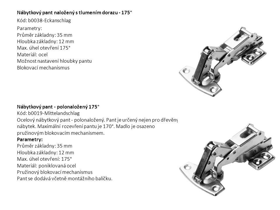 Nábytkový pant naložený s tlumením dorazu - 175° Kód: b0038-Eckanschlag Parametry: Průměr základny: 35 mm Hloubka základny: 12 mm Max. úhel otevření 1