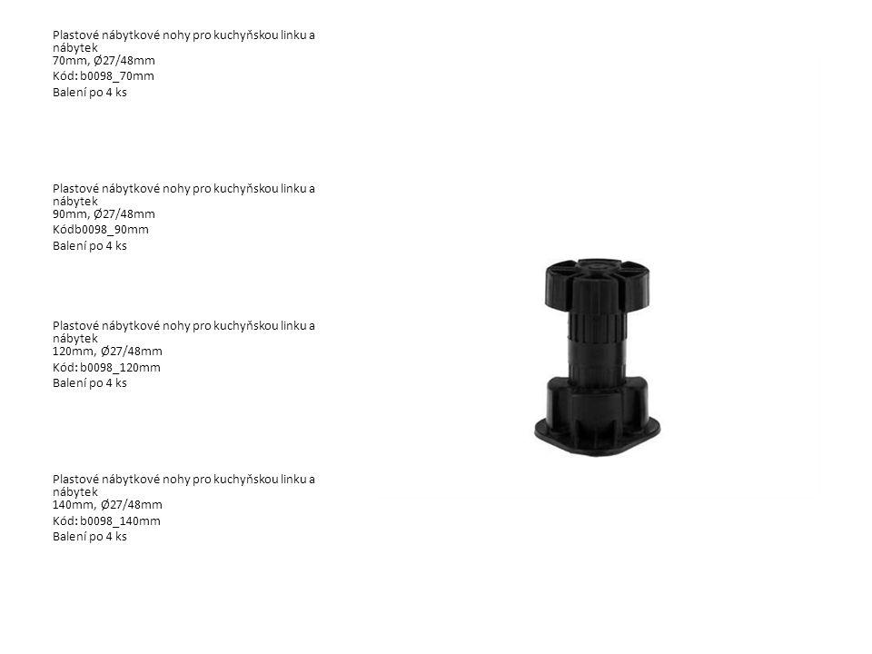 Plastové nábytkové nohy pro kuchyňskou linku a nábytek 70mm, Ø27/48mm Kód: b0098_70mm Balení po 4 ks Plastové nábytkové nohy pro kuchyňskou linku a ná