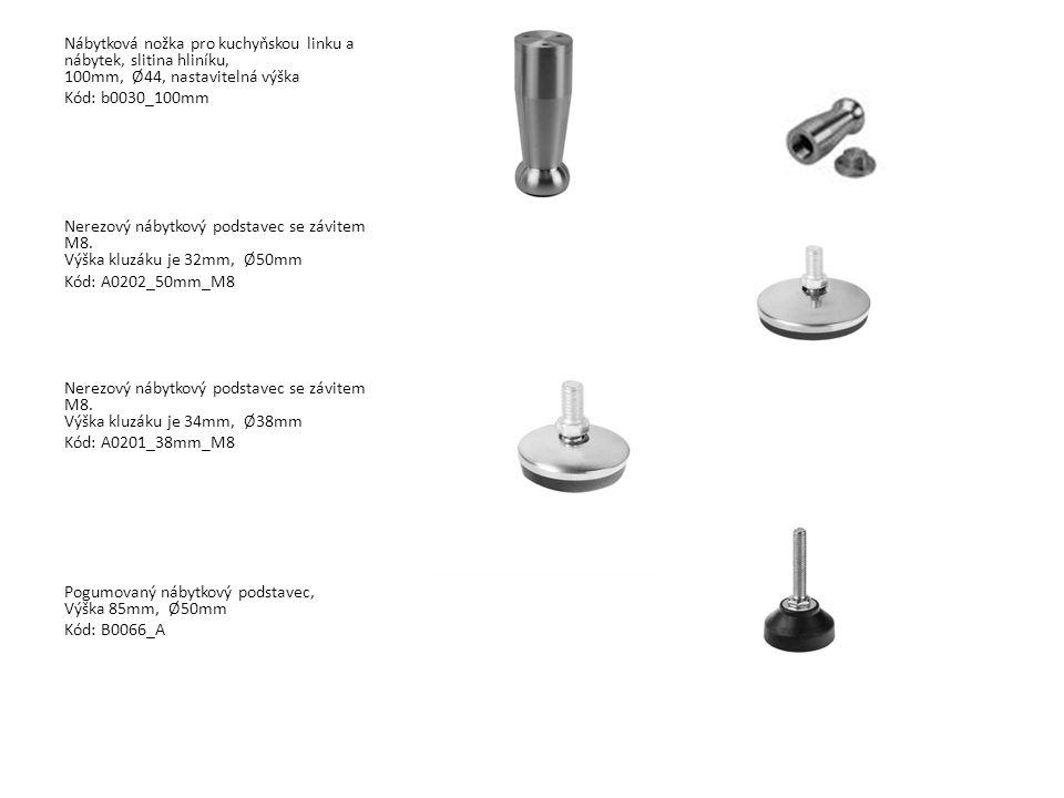 Nábytková nožka pro kuchyňskou linku a nábytek, slitina hliníku, 100mm, Ø44, nastavitelná výška Kód: b0030_100mm Nerezový nábytkový podstavec se závit