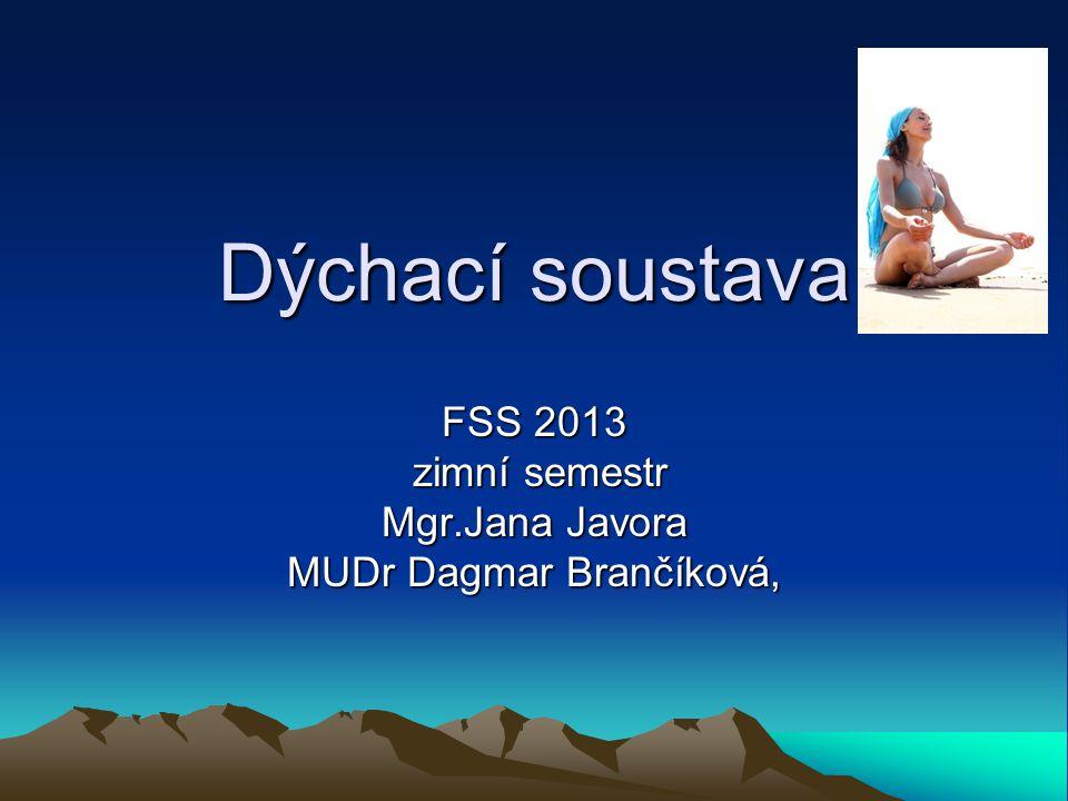 Dýchací soustava FSS 2013 zimní semestr zimní semestr Mgr.Jana Javora MUDr Dagmar Brančíková,