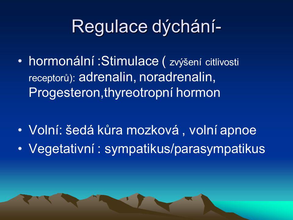 Regulace dýchání- hormonální :Stimulace ( zvýšení citlivosti receptorů): adrenalin, noradrenalin, Progesteron,thyreotropní hormon Volní: šedá kůra moz