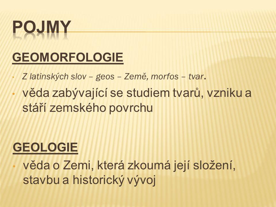 GEOMORFOLOGIE Z latinských slov – geos – Země, morfos – tvar.