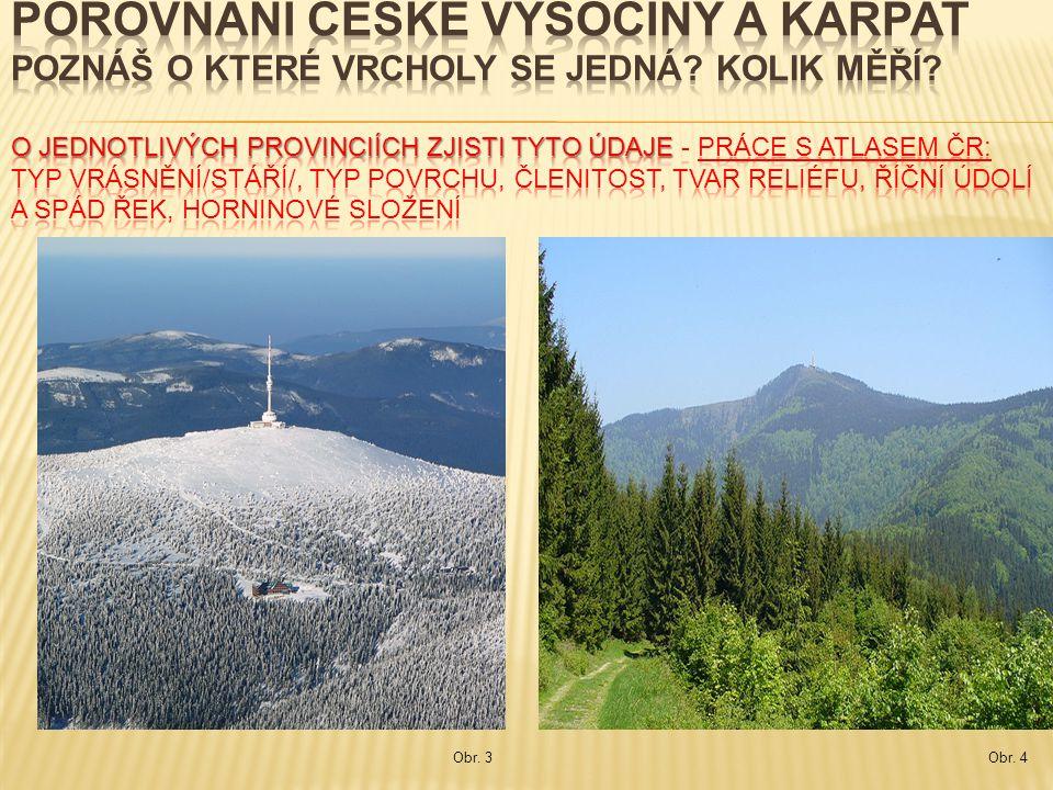 PROVINCIE ČESKÁ VYSOČINA ZÁPADNÍ KARPATY VRCHOLY (m n.m.) Praděd ( 1491 m n.m.) Lysá hora (1323 m n.m.) vrásnění /stáří/ Hercynské (starší) x Alpinské(mladší) typy povrchu pahorkatiny a vrchoviny x vrchoviny, hornatiny členitost malá x velká tvary reliéfu zaoblené x příkré a ostré říční údolí a spád řek široké, mírný spád x hluboké, úzké, větší spád horninové složení nerovnoměrně vyzdviženými rozlámanými krami zemské kůry x zvrásněnými souvrstvími usazenin