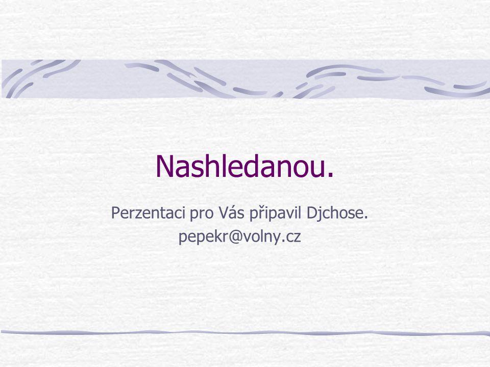 Nashledanou. Perzentaci pro Vás připavil Djchose. pepekr@volny.cz