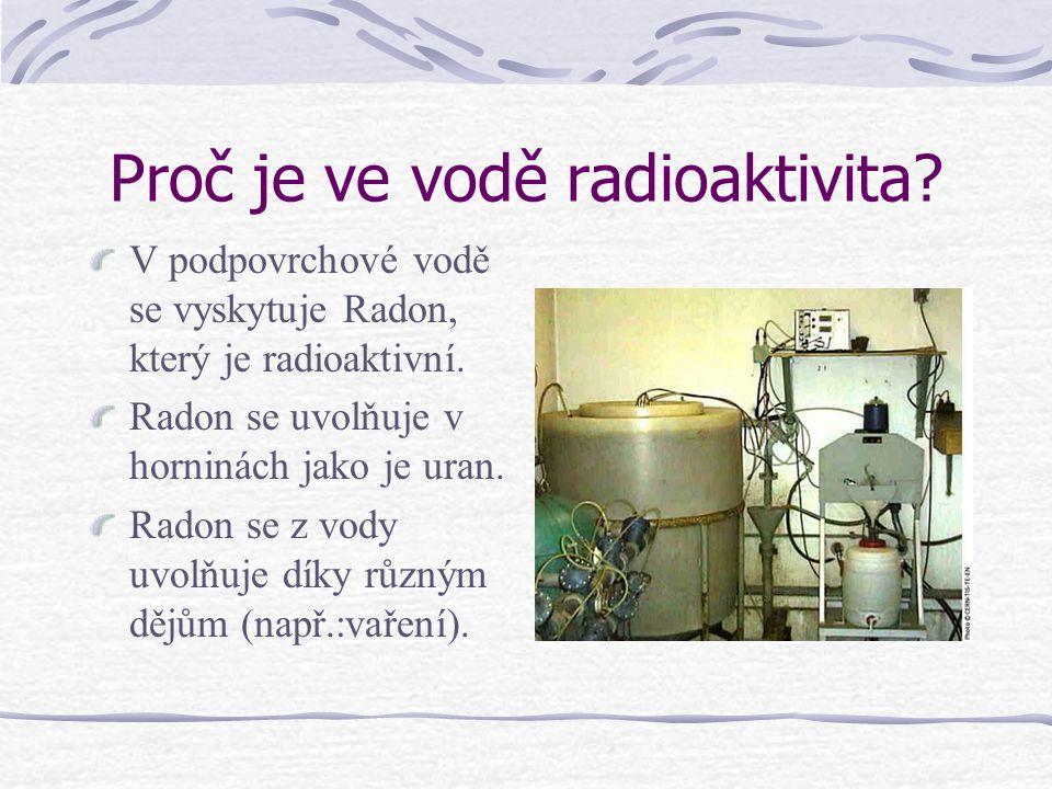 Proč je ve vodě radioaktivita? V podpovrchové vodě se vyskytuje Radon, který je radioaktivní. Radon se uvolňuje v horninách jako je uran. Radon se z v