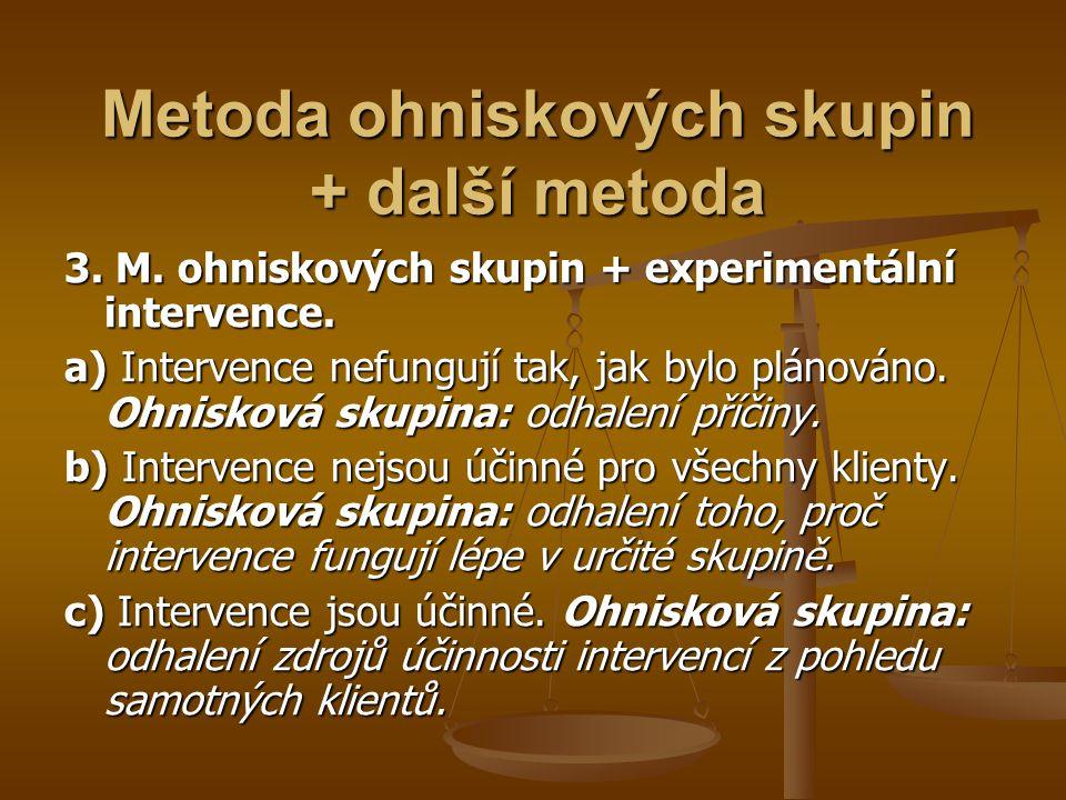 Metoda ohniskových skupin + další metoda 3. M. ohniskových skupin + experimentální intervence. a) Intervence nefungují tak, jak bylo plánováno. Ohnisk