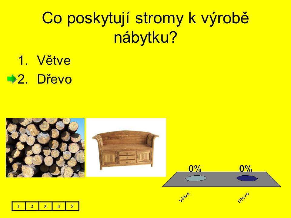 Co poskytují stromy k výrobě nábytku? 12345 1.Větve 2.Dřevo