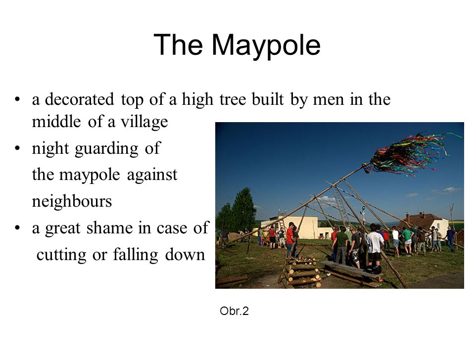 The Maypole a decorated top of a high tree built by men in the middle of a village night guarding of the maypole against neighbours a great shame in case of cutting or falling down Obr.2
