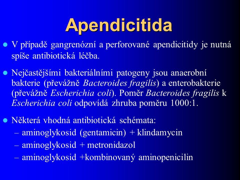 Apendicitida V případě gangrenózní a perforované apendicitidy je nutná spíše antibiotická léčba. Nejčastějšími bakteriálními patogeny jsou anaerobní b