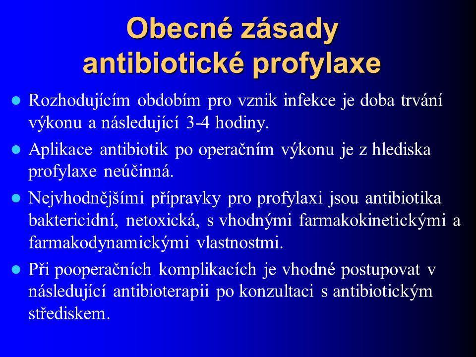 Obecné zásady antibiotické profylaxe Rozhodujícím obdobím pro vznik infekce je doba trvání výkonu a následující 3-4 hodiny. Aplikace antibiotik po ope