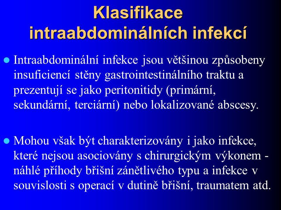 Nejčastější formou těchto infekcí jsou: – sekundární peritonitida, způsobená průnikem bakteriálních patogenů z gastrointestinálního traktu do peritoneální dutiny, sekundární peritonitida je vždy smíšenou infekcí, na níž se podílejí aerobní i anaerobní střevní bakterie – intraabdominální abscesy