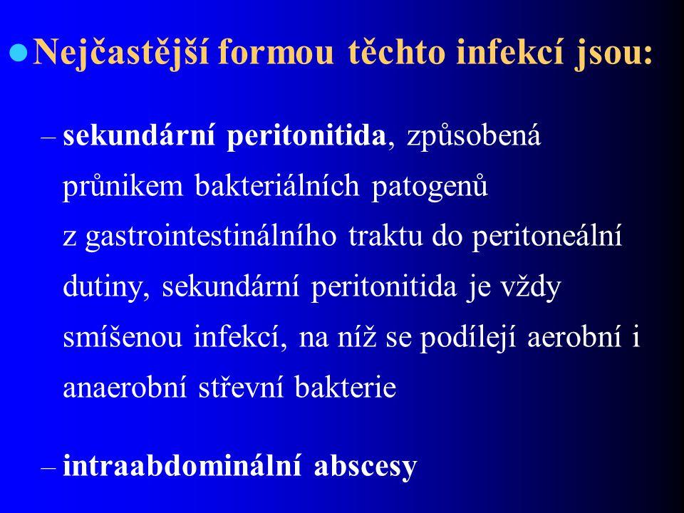 Nejčastější formou těchto infekcí jsou: – sekundární peritonitida, způsobená průnikem bakteriálních patogenů z gastrointestinálního traktu do peritone