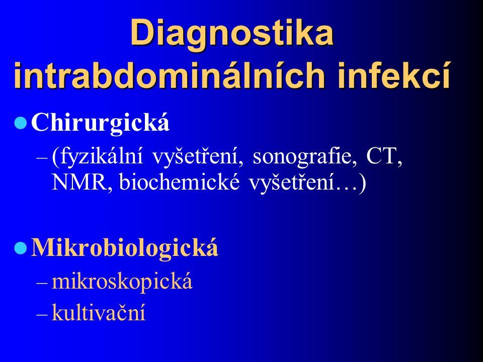 Diagnostika intrabdominálních infekcí Chirurgická – (fyzikální vyšetření, sonografie, CT, NMR, biochemické vyšetření…) Mikrobiologická – mikroskopická