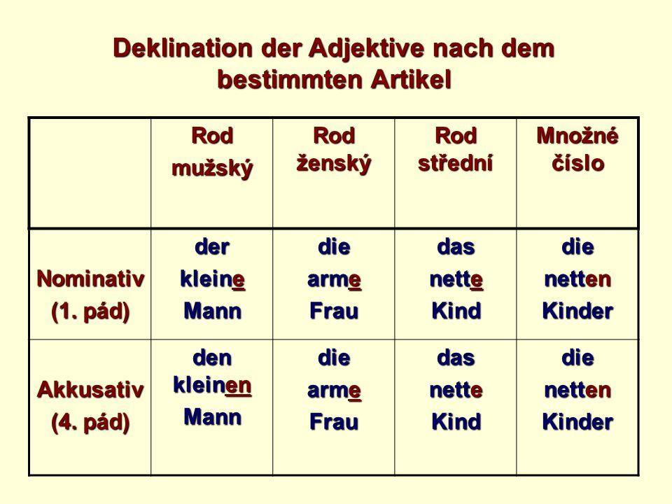 Deklination der Adjektive nach dem bestimmten Artikel Rodmužský Rod ženský Rod střední Množné číslo Nominativ (1.