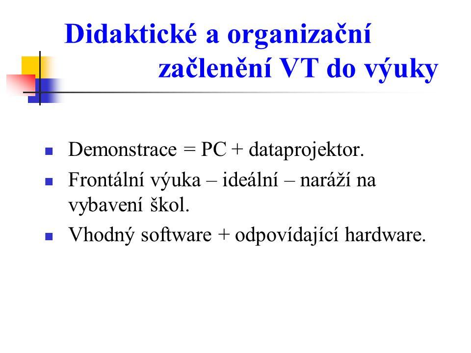 Didaktické a organizační začlenění VT do výuky Demonstrace = PC + dataprojektor. Frontální výuka – ideální – naráží na vybavení škol. Vhodný software