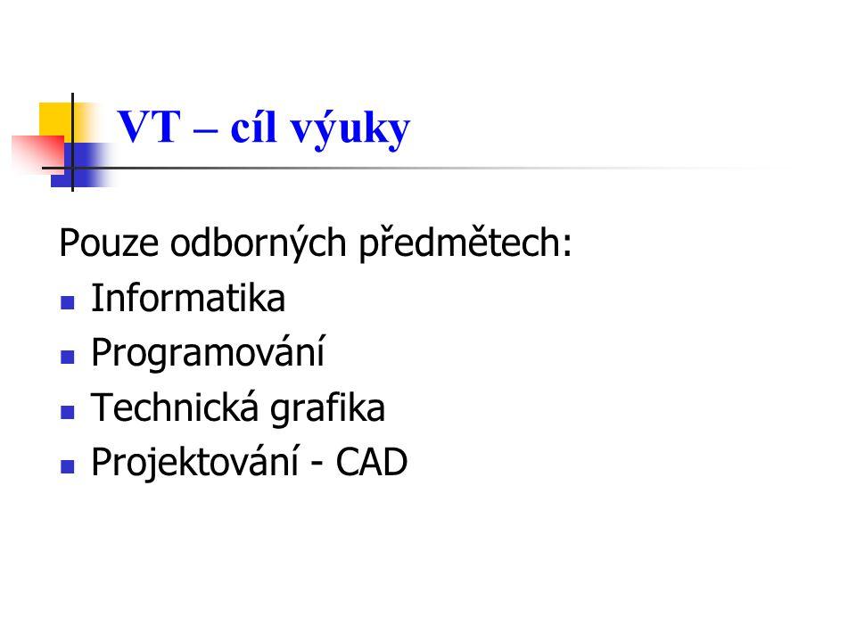 VT – cíl výuky Pouze odborných předmětech: Informatika Programování Technická grafika Projektování - CAD