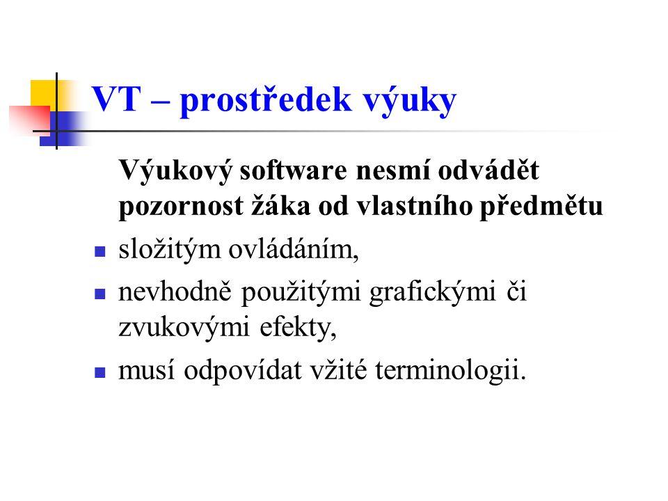 VT – prostředek výuky Výukový software nesmí odvádět pozornost žáka od vlastního předmětu složitým ovládáním, nevhodně použitými grafickými či zvukovými efekty, musí odpovídat vžité terminologii.