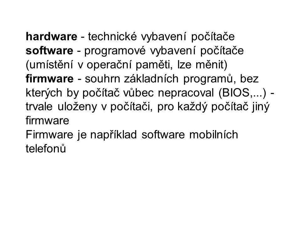 hardware - technické vybavení počítače software - programové vybavení počítače (umístění v operační paměti, lze měnit) firmware - souhrn základních programů, bez kterých by počítač vůbec nepracoval (BIOS,...) - trvale uloženy v počítači, pro každý počítač jiný firmware Firmware je například software mobilních telefonů