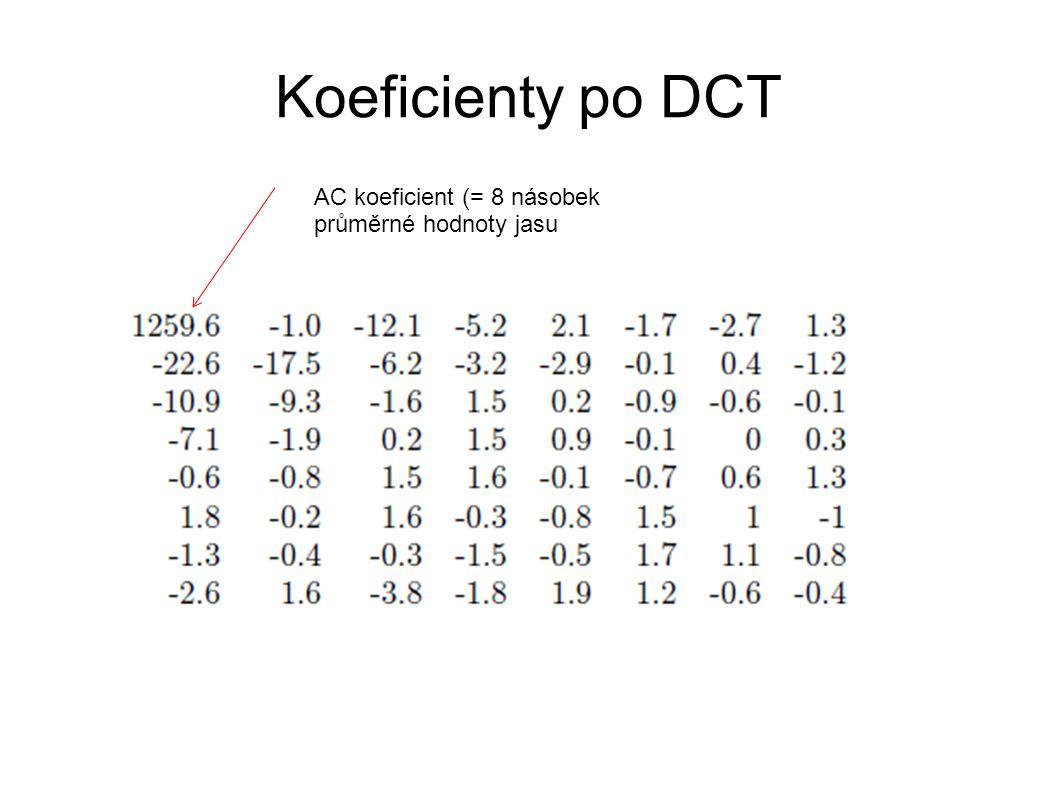Koeficienty po DCT AC koeficient (= 8 násobek průměrné hodnoty jasu