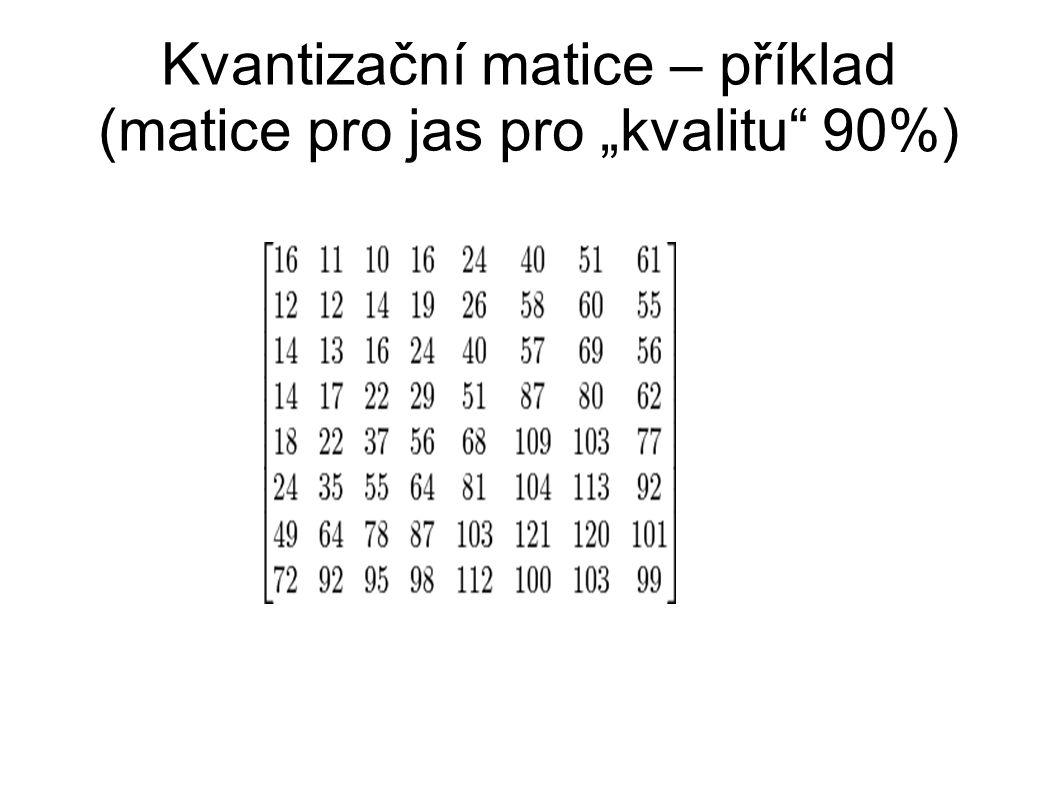 """Kvantizační matice – příklad (matice pro jas pro """"kvalitu 90%)"""