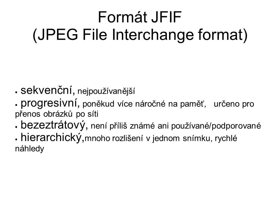 Formát JFIF (JPEG File Interchange format)  sekvenční, nejpoužívanější  progresivní, poněkud více náročné na paměť, určeno pro přenos obrázků po síti  bezeztrátový, není příliš známé ani používané/podporované  hierarchický, mnoho rozlišení v jednom snímku, rychlé náhledy