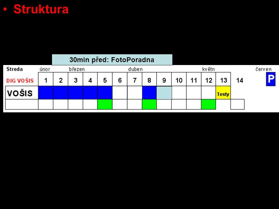 Struktura –založeny buď na cloně, nebo na čase! –varinaty - clona: izolované scénické neutrální makra –varinaty - čas: zastavující pohyb sledující poh