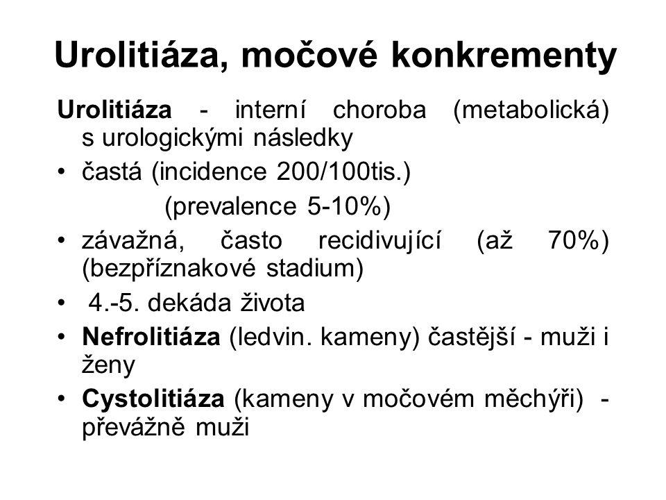 Urolitiáza, močové konkrementy Urolitiáza - interní choroba (metabolická) s urologickými následky častá (incidence 200/100tis.) (prevalence 5-10%) závažná, často recidivující (až 70%) (bezpříznakové stadium) 4.-5.