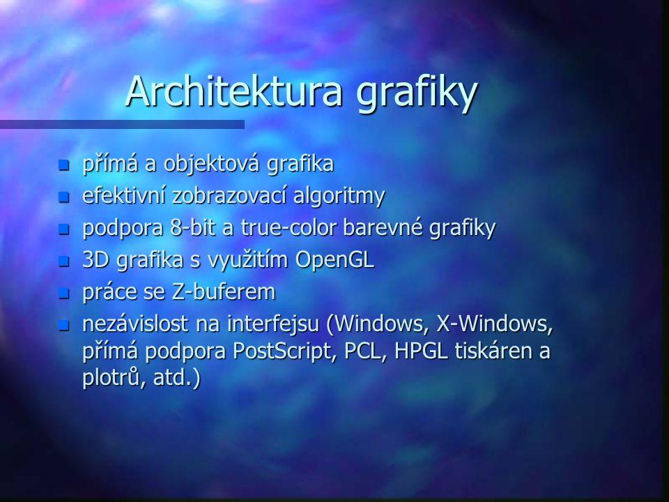 Architektura grafiky n přímá a objektová grafika n efektivní zobrazovací algoritmy n podpora 8-bit a true-color barevné grafiky n 3D grafika s využitím OpenGL n práce se Z-buferem n nezávislost na interfejsu (Windows, X-Windows, přímá podpora PostScript, PCL, HPGL tiskáren a plotrů, atd.)