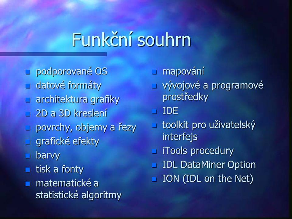 Funkční souhrn n podporované OS n datové formáty n architektura grafiky n 2D a 3D kreslení n povrchy, objemy a řezy n grafické efekty n barvy n tisk a fonty n matematické a statistické algoritmy n mapování n vývojové a programové prostředky n IDE n toolkit pro uživatelský interfejs n iTools procedury n IDL DataMiner Option n ION (IDL on the Net)