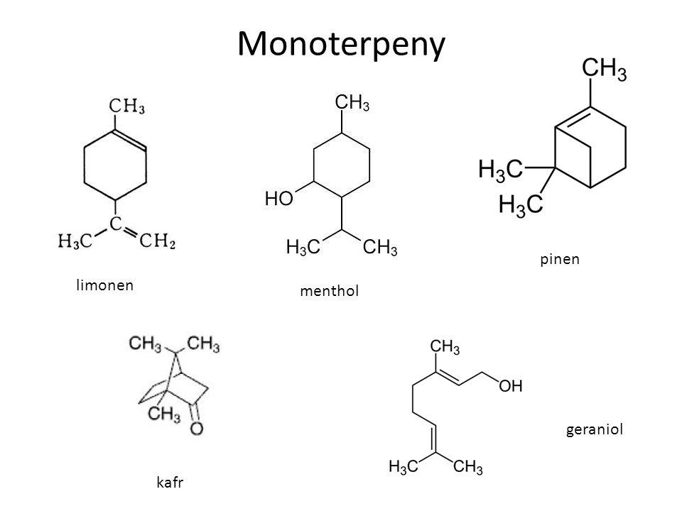 Monoterpeny limonen menthol pinen kafr geraniol