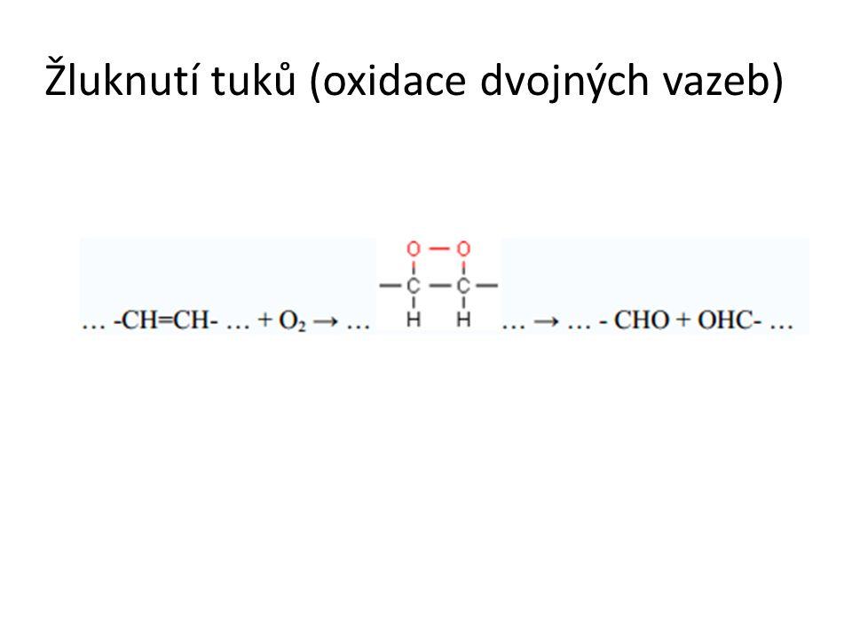 Žluknutí tuků (oxidace dvojných vazeb)