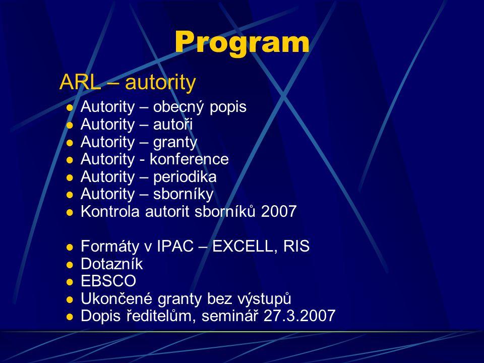 AUTORITY Autority se vytvářejí přes webovské formuláře.