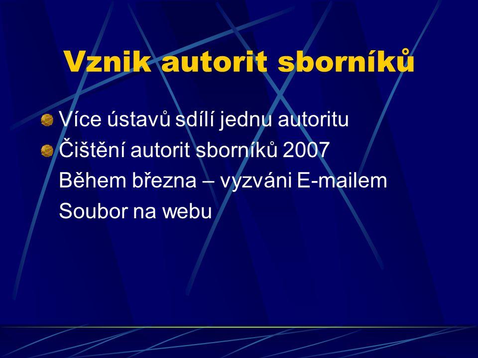 Vznik autorit sborníků Více ústavů sdílí jednu autoritu Čištění autorit sborníků 2007 Během března – vyzváni E-mailem Soubor na webu